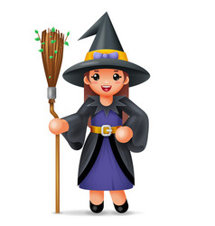 cute witch costume halloween child girl masquerade vector image