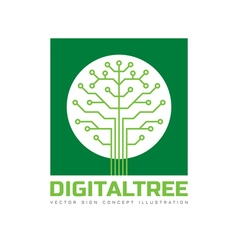 Digital tree - logo template vector image