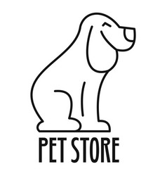Doggy pet store logo outline style vector