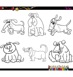 dogs set cartoon coloring page vector image