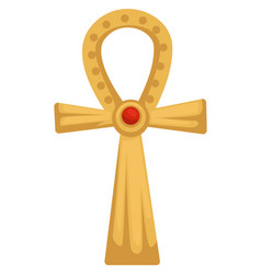 egyptian gold coptic cross or ankh with ruby stone vector image