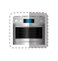 Electric oven appliance home cut line vector