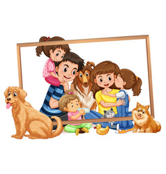 Family on wooden frame vector