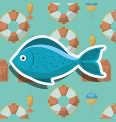 fish fishing cartoon vector image