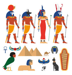 Flat egypt symbols set vector