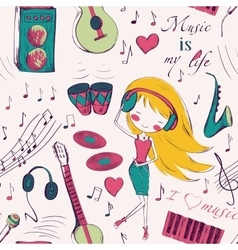 girl and music seamless pattern vector image vector image