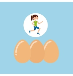 Girl jogger eggs healthy lifestyle vector