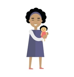 Girl with Doll in Flat Design vector