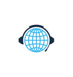 Globe podcast logo icon design vector