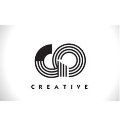 go logo letter with black lines design line letter vector image