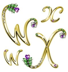 Gold alphabet with diamonds and gems letters WX vector image