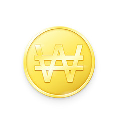 Gold coin with won sign vector