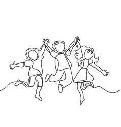 Happy jumping children holding hands vector