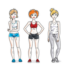 happy young women posing wearing stylish sport vector image vector image