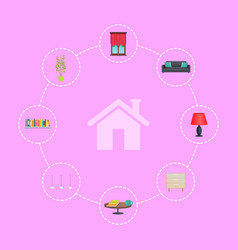 house icon surrounded with interior decor elements vector image