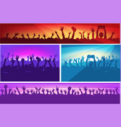human silhouettes with raised hands in colorful vector image