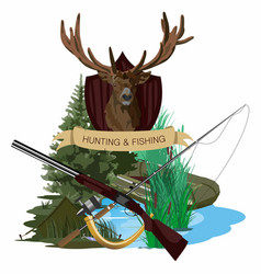 Hunting fishing vector