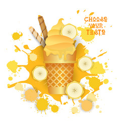 Ice cream banana cone colorful dessert icon choose vector