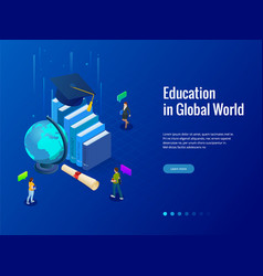 Isometric education in global world books step vector