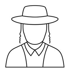 jewish man face icon outline style vector image