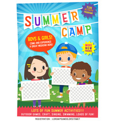 kids summer camp education advertising poster vector image