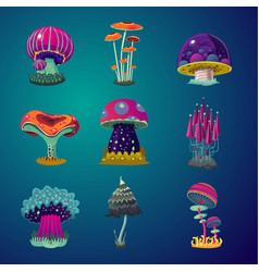 Magic cartoon mushrooms icons set fantasy object vector