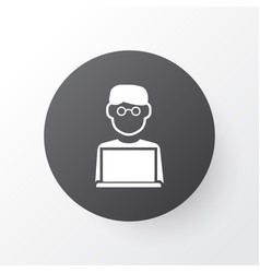 Man with laptop icon symbol premium quality vector