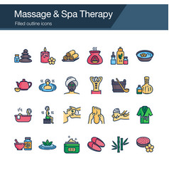 massage and spa therapy icons filled outline vector image