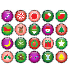 merry christmas - button icons vector image