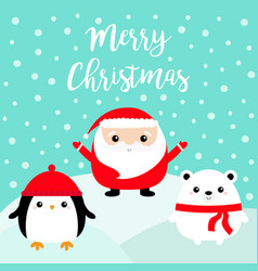 merry christmas penguin bird white bear santa vector image