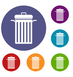 Metal trash can icons set vector