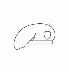 Military beret icon in outline style vector