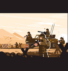Military roadblock with soldiers vector