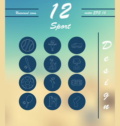 Minimalistic thin line sports sharp icons vector