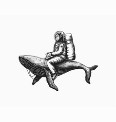 Monkey astronaut with blue whale funny chimpanzee vector