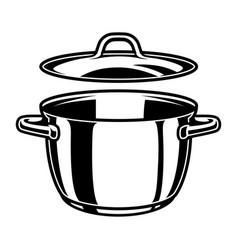 monochrome kitchen pan template vector image