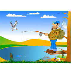 morning of the fisherman vector image