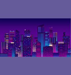 Night city colorful new york urban background vector