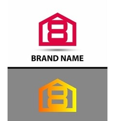 Number 8 logo logotype design with house vector image
