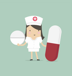 nurse standing with pills healthcare concept vector image