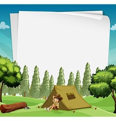 Paper design with man camping in woods vector