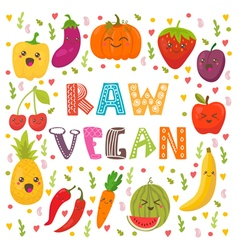 Raw vegan Cute happy fruits and vegetables in vector image