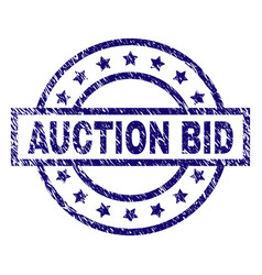 Scratched textured auction bid stamp seal vector