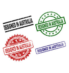 Scratched textured designed in australia stamp vector