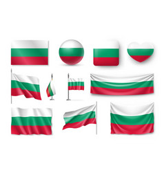 set bulgaria flags banners banners symbols vector image