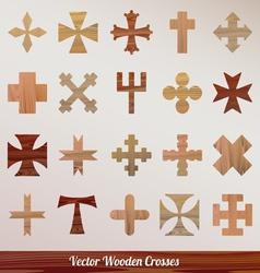 Set crosses wooden vector