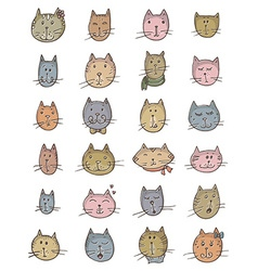 Set of cute cats faces vector image