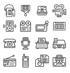 set retro technology outline icons vector image