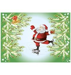 skating santa claus vector image