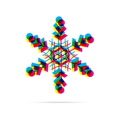 Snowflake icon with shadow vector